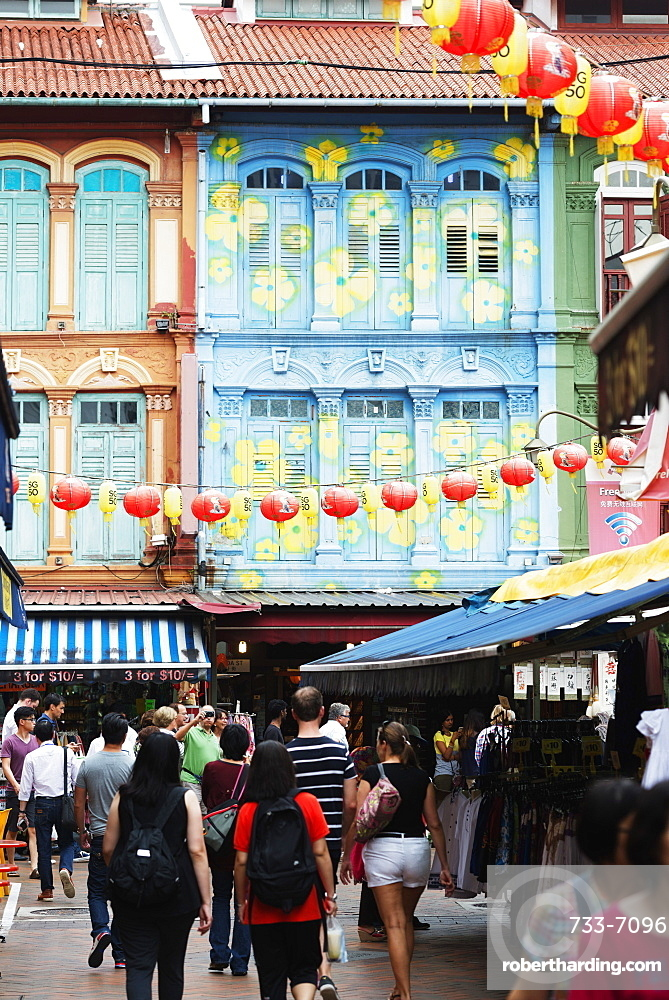 Chinese lanterns and shutters on a colonial building, Chinatown, Singapore, Southeast Asia, Asia