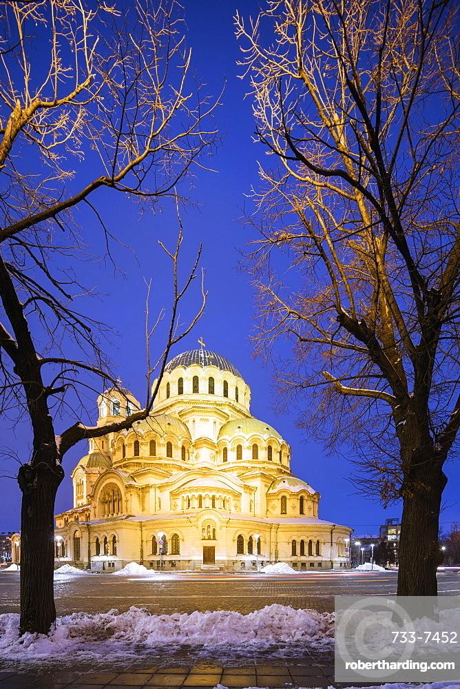 Cathedral Saint Alexandar Nevski in winter, Sofia, Bulgaria, Europe