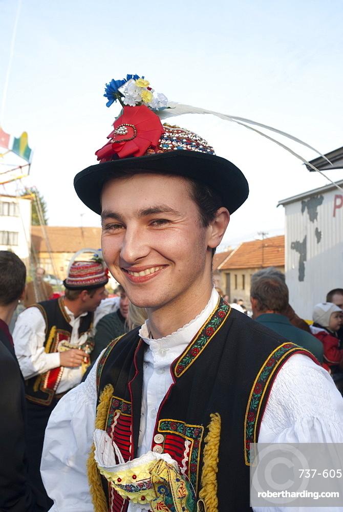 Man wearing Zdanice folk dress during Feast with Law festival at village of Zdanice, Brnensko, Czech Republic, Europe