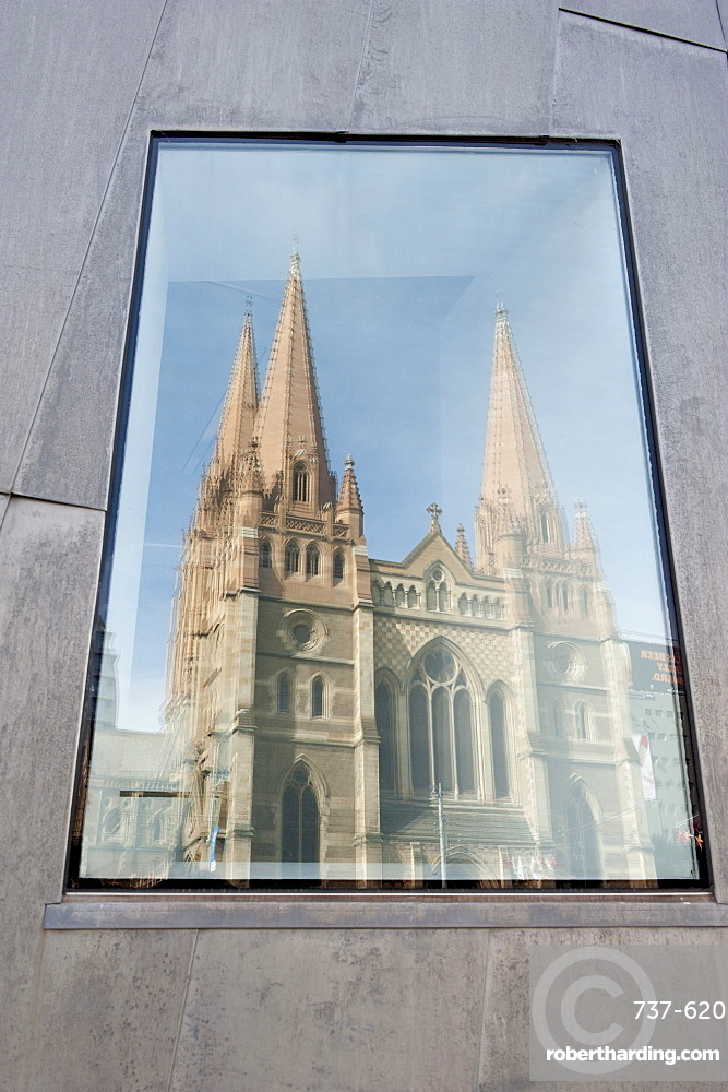 Reflection in window of St. Pauls Cathedral, Melbourne, Victoria, Australia, Pacific