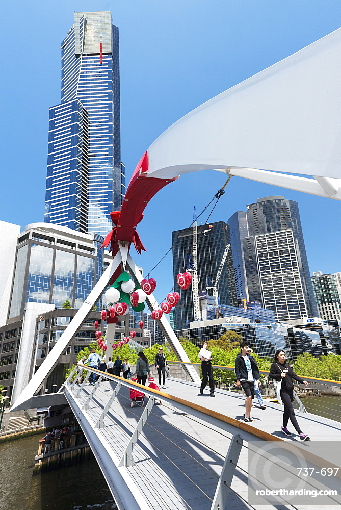 Christmas decorations on Southbank footbridge and Eureka Tower, Melbourne, Victoria, Australia, Pacific