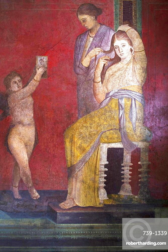 The Baccantis before the feast in the Triclinium in the Villa dei Misteri, Pompeii, UNESCO World Heritage Site, Campania, Italy, Europe