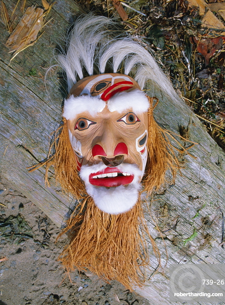 Shaman mask, Queen Charlotte Islands, British Columbia (B.C.), Canada, North America