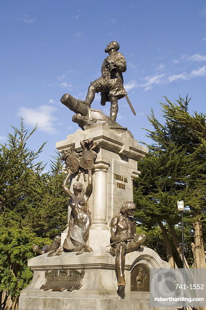 Magellan statue in main square, Punta Arenas, Patagonia, Chile, South America