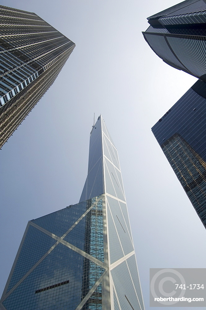 Skyscrapers, left to right, Cheung Kong Centre, Bank of China Tower and Citibank Tower, Central district, Hong Kong, China, Asia