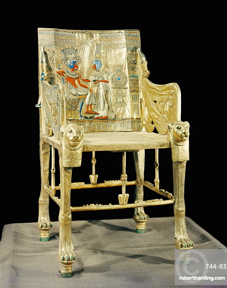 The gilt throne, the back decorated with a scene showing the royal couple, from the tomb of the pharaoh Tutankhamun, discovered in the Valley of the Kings, Thebes, Egypt, North Africa, Africa