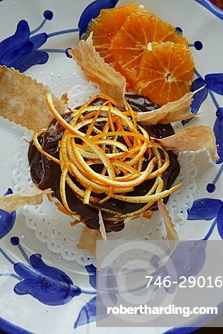 Little chocolate cake with orange, Orestorante restaurant, Ponza island, Lazio, Italy