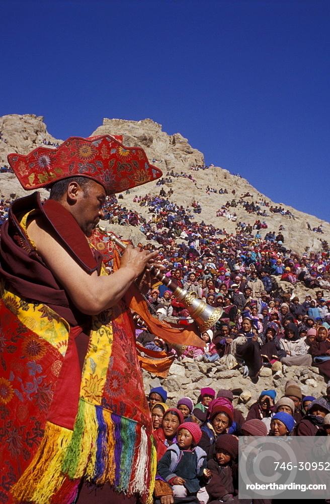 Shanai player, Leh, Ladakh, India, Asia