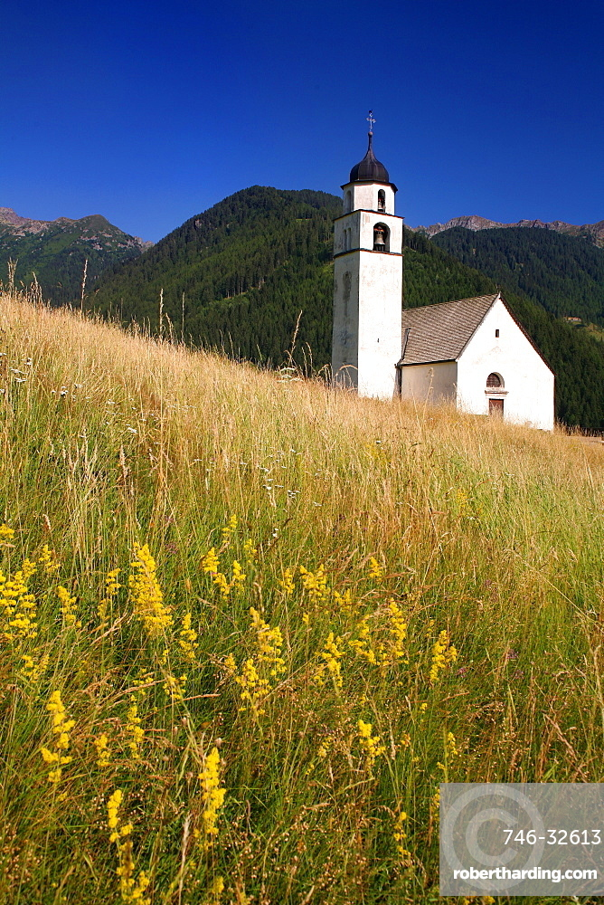 Alpine church, Palù del Fersina village, Valle dei Mocheni, Trentino Alto Adige, Italy