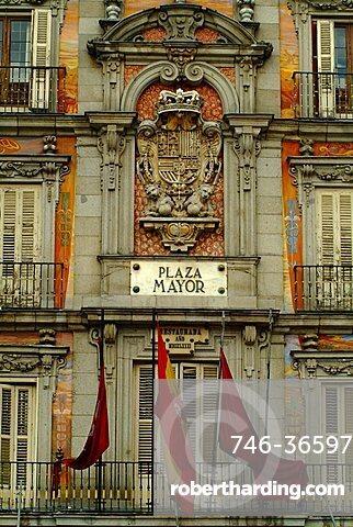 Casa de la Panadería façade and Plaza Mayor sign, Madrid, Spain, Europe