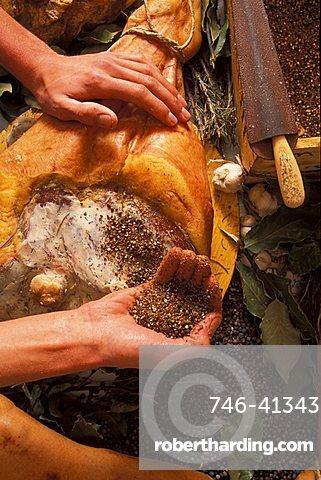 Jambon de Bosses typical ham, Valpelline, Valle d'Aosta,  Italy