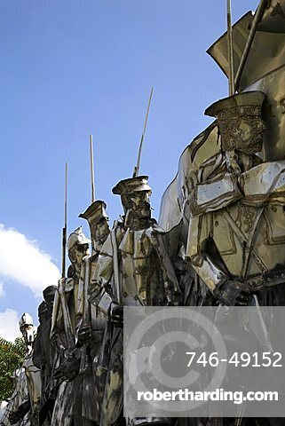 Communist era statues are on permanent display in the Statue Park outside Budapest, Hungary, Europe