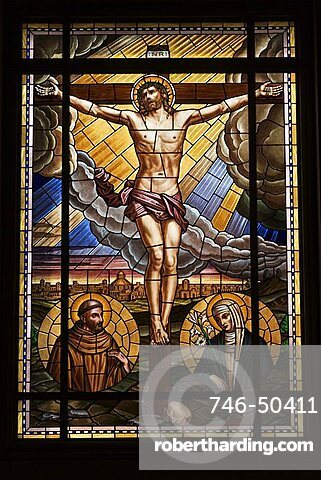 Stained glass windows, Lower Church, San Giovanni Bosco sanctuary, Castelnuovo Don Bosco, Piedmont, Italy, Europe