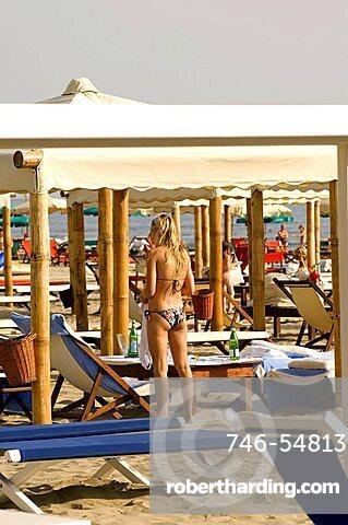 Beach, Twiga baths, Marina di Pietrasanta, Tuscany, Italy