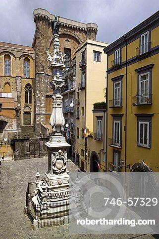 Guglia di San Gennaro monument,  Riario Sforza square,  historical centre, Naples, Campania, Italy