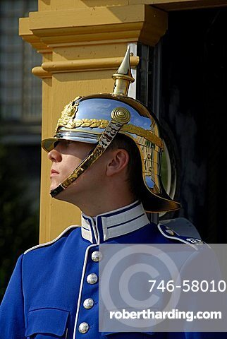 Guard at the Stockholm Palace Kungliga Slottet, official residence of the Swedish monarch, Stockholm, Sweden, Scandinavia, Europe