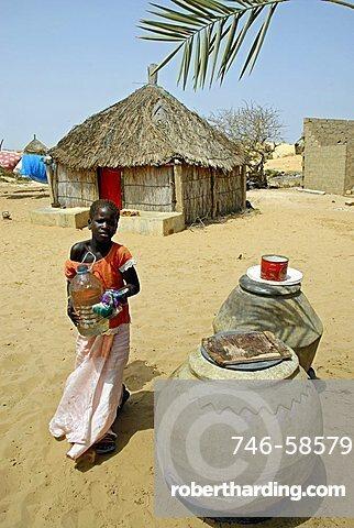 Village near lake Retba or Lac Rose, Republic of Senegal, Africa