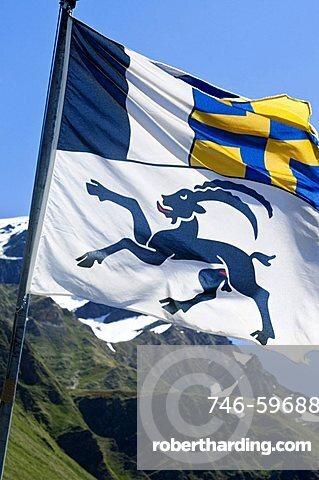 Graubunden flag, Lucomagno, Switzerland, Europe