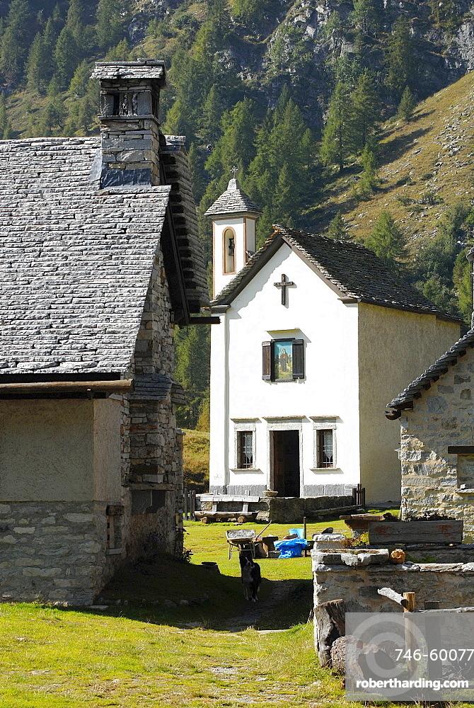 Crampiolo church, Alpe Devero Park, Ossola Valley, Verbania Province, Italy