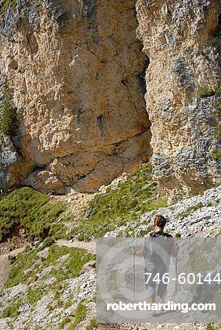Going to Stevia refuge, Puez Odle natural Park, Gardena Valley, Alto Adige, Italy