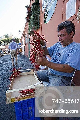 Chili streed dealer, Ponza Island, Pontine Islands, Lazio, Italy