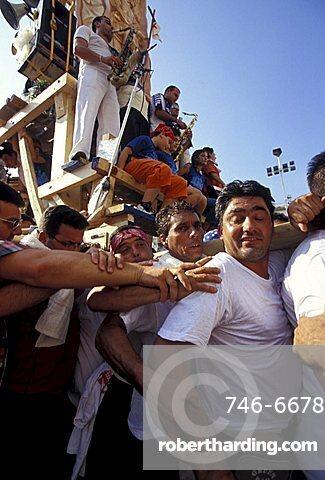 Giglio bearers, Festa dei Gigli, Nola, Campania, Italy