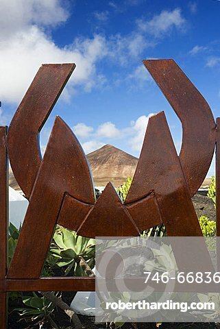 Logo at the entrance, Cesar Manrique's former house, Taro de Tahiche, Lanzarote, Canary Islands, Spain