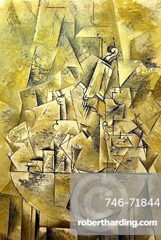 Violin, Pablo Picasso, Musee National d'Art Moderne, Centre Georges Pompidou, Beaubourg, Paris, Ile-de-France, France, Europe