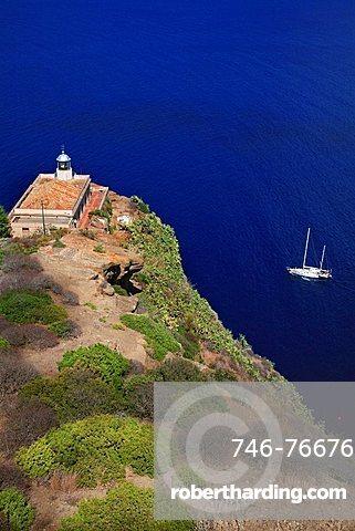 Lighthouse, Punta Omo Morto, Ustica, Ustica island, Sicily, Italy