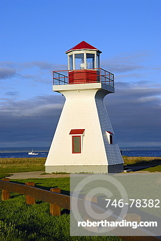 Lighthouse, bird sanctuary in the bay, Carleton, South Coast, Gaspe peninsula, Quebec, Canada, North America