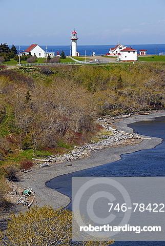 Lighthouse, Riviere Madeleine, East Coast, Gaspesie, Gaspe peninsula, Quebec, Canada, North America