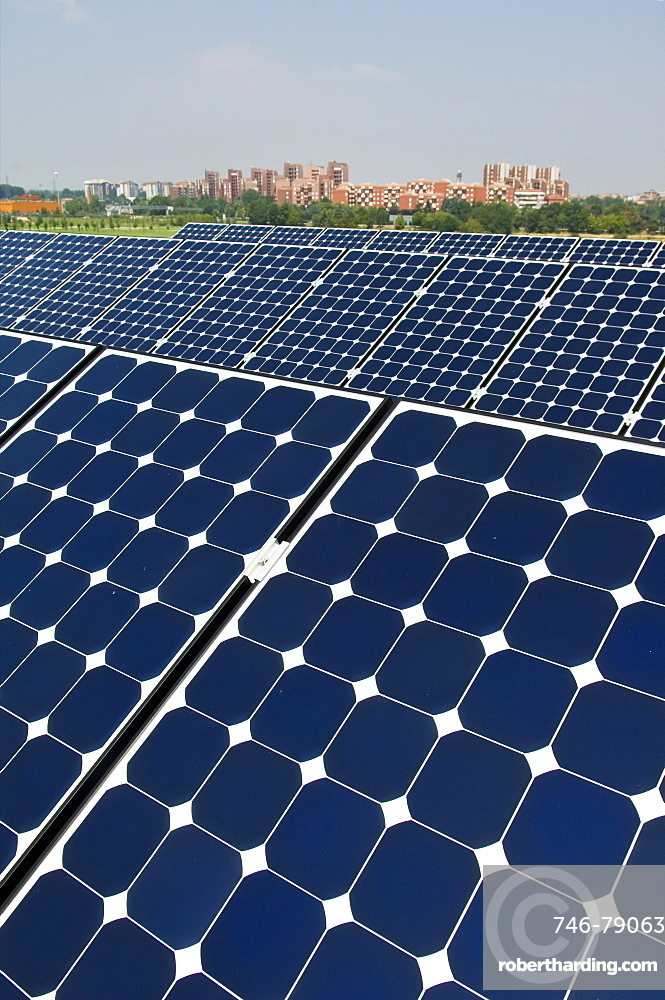 solar power system on factory, corsico, italy