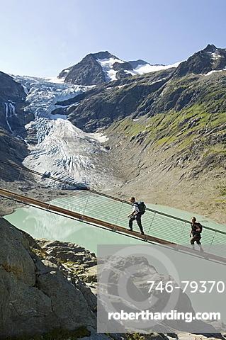 trift suspension bridge, trift glacier, switzerland