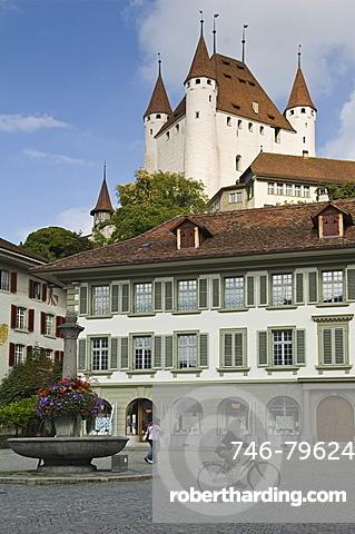 castle and rathausplatz, thun, switzerland