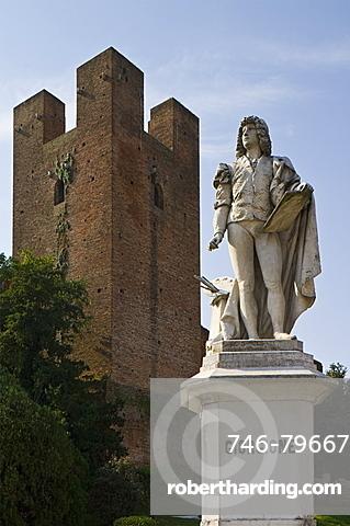 giorgione statue and tower, castelfranco veneto, italy