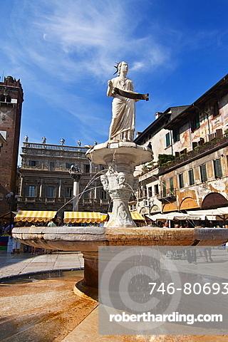 Piazza delle Erbe, Verona, Veneto, Italy.