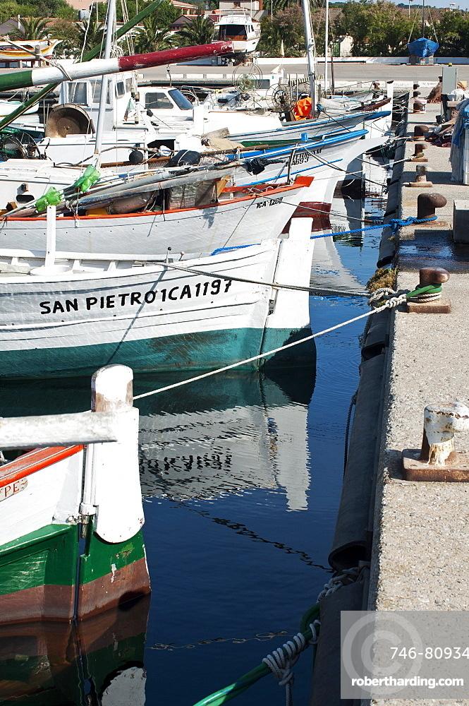 Bilancelle, tipical fishing boats, Carloforte, St Pietro Island, Sulcis Iglesiente, Carbonia Iglesias, Sardinia, Italy, Europe