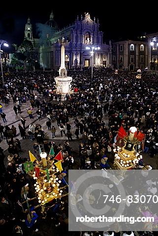 Candelore, religious feast, Catania, Sicily, Italy, Europe