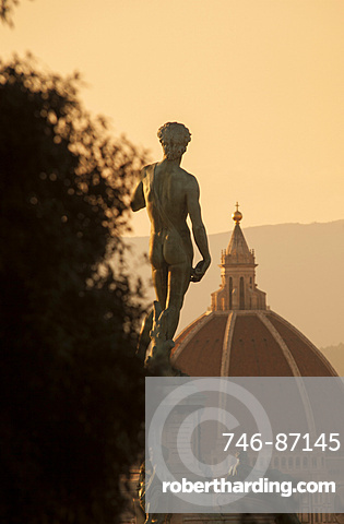 Cathedral and copy of Michelangelo's David statue, Michelangelo square, Florence, Tuscany, Italy, Europe