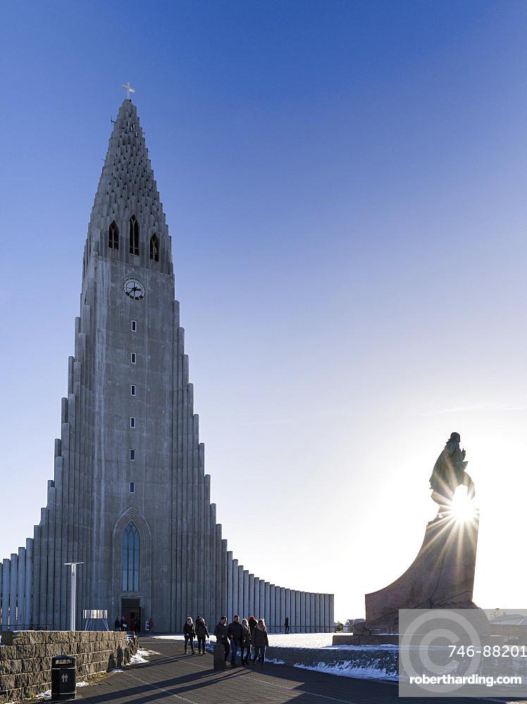 Reykjavik, monument for Leif Eriksson in front of  Hallgrimskirkja. europe, northern europe, iceland,  February