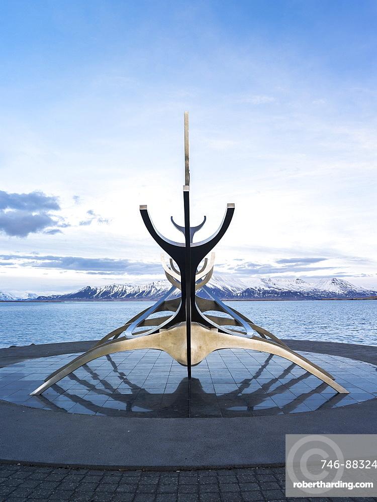 Solfar, a landmark of  Reykjavik. Solfar  icelandic for Sun Voyager is a sculture made of stainless steel in the harbour of Reykjavik made be the artist Jon Gunnar Arnason.  europe, northern europe, iceland,  February
