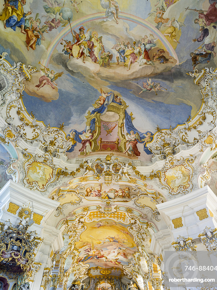Wieskirche (Pilgrimage church of Wies) near Steingaden at the romantic road in Bavaria near the alps.  The Wieskirche is part of UNESCO world heritage.  Europe, Central Europe, Germany, Bavaria