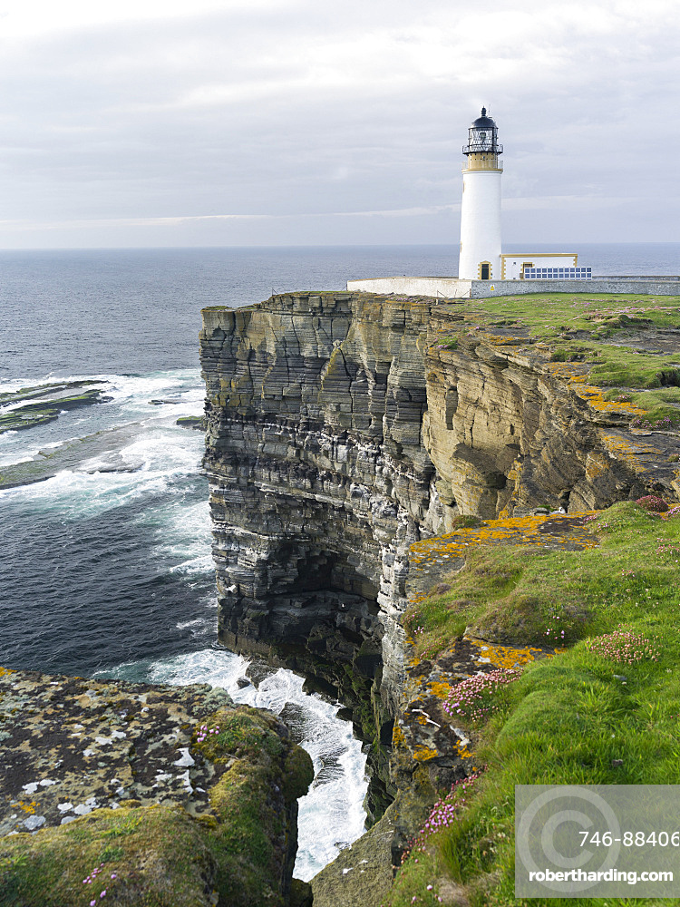 The cliffs at Noup Head with noup head lighthouseon the island of Westray in the Orkney Islands.The cliffs are extending for miles, are home to one of the largest sea bird colonies in the UK and are a RSPB Reserve. europe, central europe, northern europe, united kingdom, great britain, scotland, northern isles,orkney islands, June