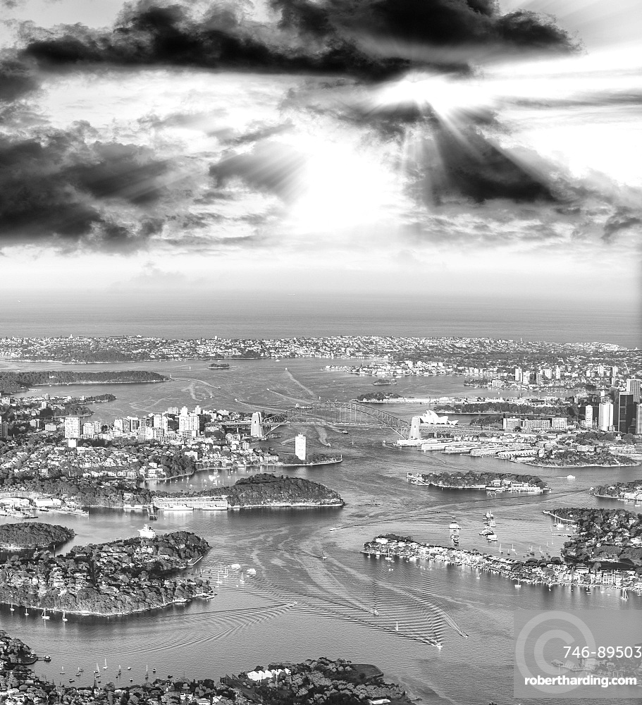 Aerial view of Sydney Harbour from the airplane, Australia.
