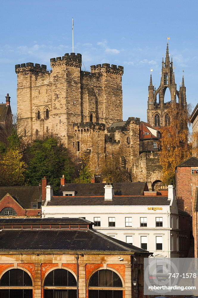 The 12th century Norman Castle Keep, and the Lantern of the Cathedral Church of St. Nicholas, Newcastle upon Tyne, Tyne and Wear, England, United Kingdom, Europe