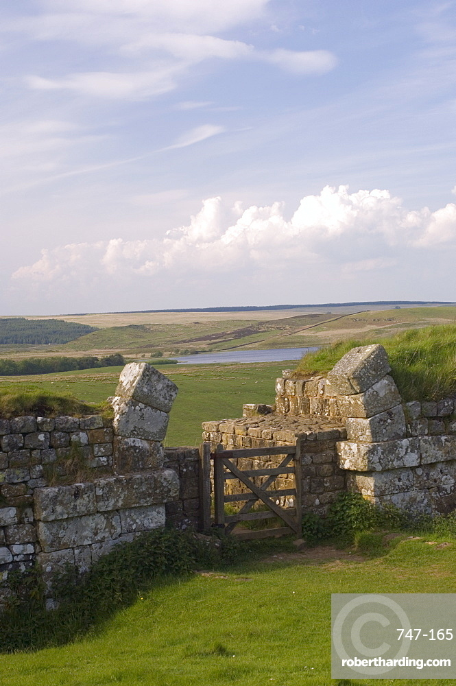 Hadrian's Wall, UNESCO World Heritage Site, Milecastle 37, North to Broomleagh Lough, Northumberland, England, United Kingdom, Europe