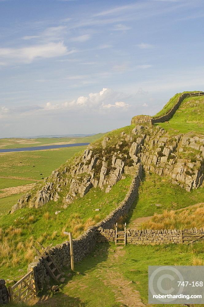 Pennine Way crossing near Turret 37a, Hadrians Wall, UNESCO World Heritage Site, Northumberland, England, United Kingdom, Europe