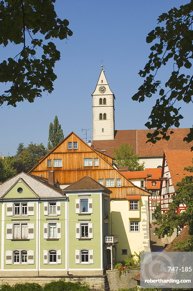 View from Townhall garden, Meersburg, Baden-Wurttemberg, Lake Constance (Bodensee), Germany, Europe