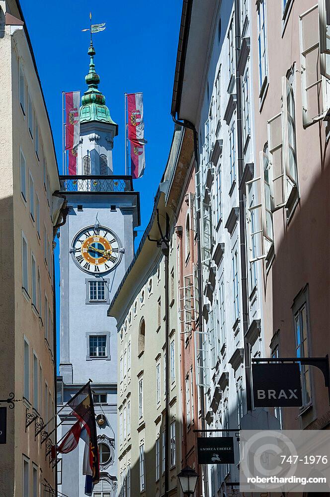 Townhall Clock Tower, Salzburg, Mozarts Birthpalce, Austria, Europe, EU