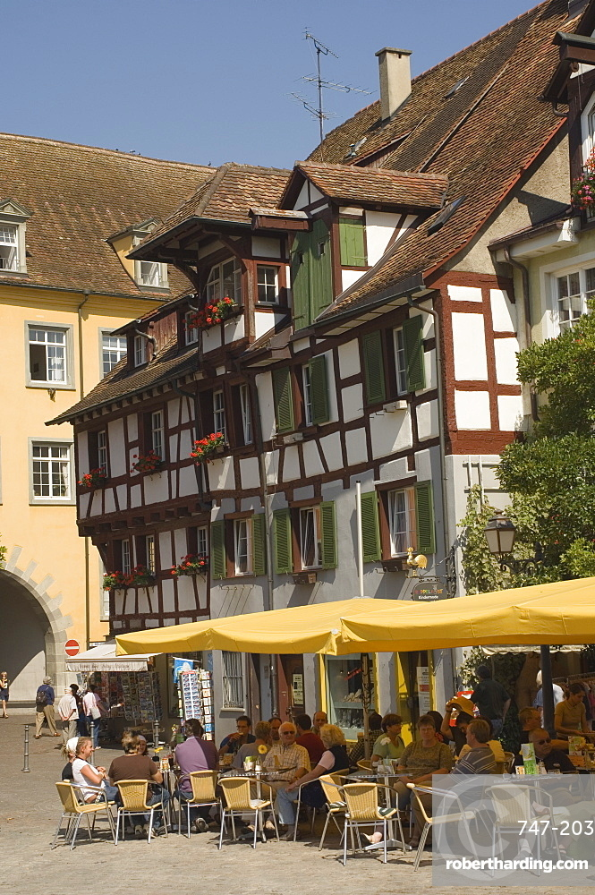 Pavement cafe in main square, traditional architecture, Meersberg, Baden-Wurttemberg, Lake Constance, Germany, Europe